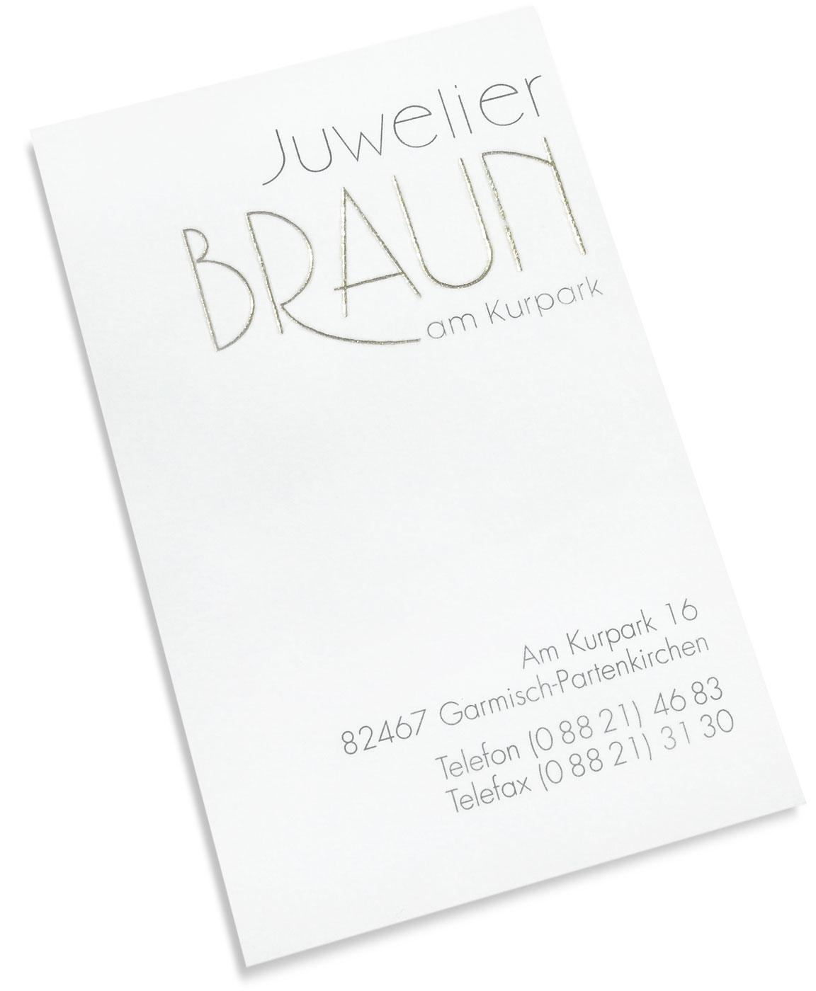 Wortmarke und Visitenkarte Juwelier Braun